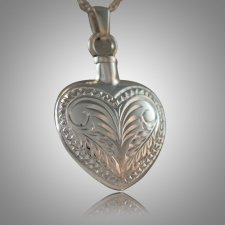 Etched Heart Keepsake Pendant III